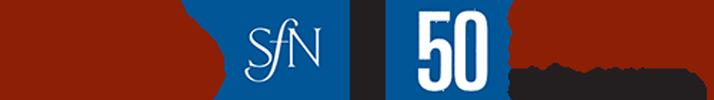 "SfN 50th Anniversary logo stating ""Society for Neuroscience, celebrating 50 years. 1969-2019"""